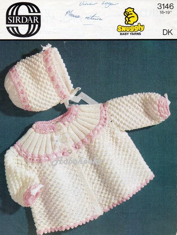 Baby Matinee Coat Knitting Patterns : Baby knitting pattern matinee coat bonnet