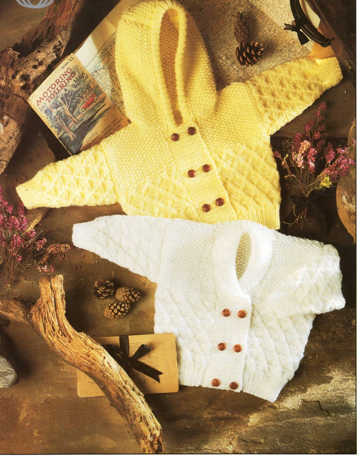 Knitting Pattern Child s Hooded Jacket : Baby / childs Aran Jackets knitting pattern PDF Hooded Jacket