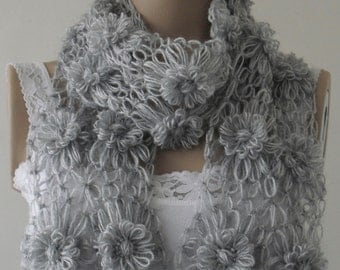 Scarf, Gray Floral motif foulard, gift for christmas, gift for women, gift for mom, gift for her, new year gifts /// FORMALHOUSE