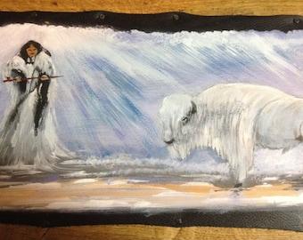 "Painting on leather ""Ptesan Win"" White Buffalo Woman"