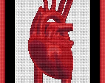 Red Human Heart Science Biology Medicine Anatomy Counted Cross Stitch Pattern in PDF for Instant Download