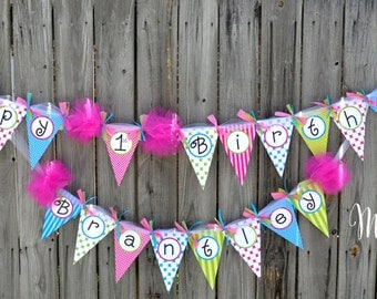 INSTANT DOWNLOAD!!! Chevron and Polka Dots Printable Happy Birthday Banner, Print Your Own