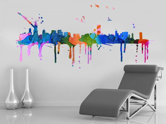 Chicago skyline watercolor effect sticker home design art for Good look chicago skyline wall decal