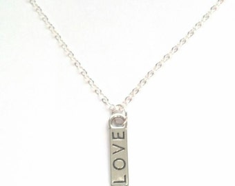 "LOVE Necklace - Sterling Silver ""LOVE"" Necklace - Valentine's Day Necklace - Valentine Necklace - Bridesmaid Necklace - Wedding - Epsteam"
