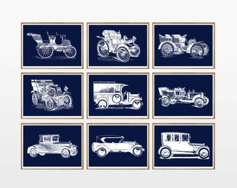 Navy Blue Cars Art Print SET of 9. UNFRAMED A4. Retro Vintage Cars Wall Art, car illustration, navy wall art, navy wall decor, navy artwork