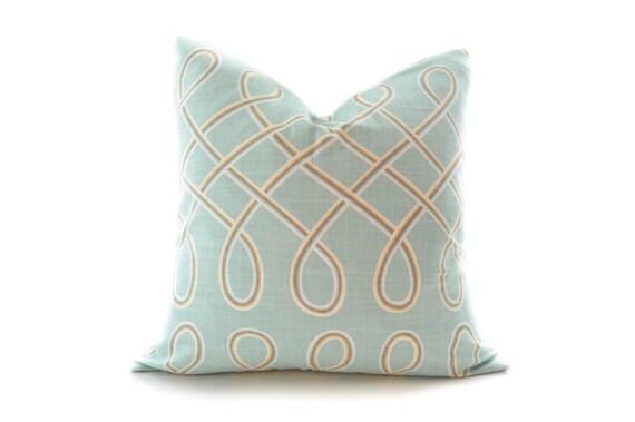 Light blue linen pillow cover seafoam light aqua by InkandLinenCo