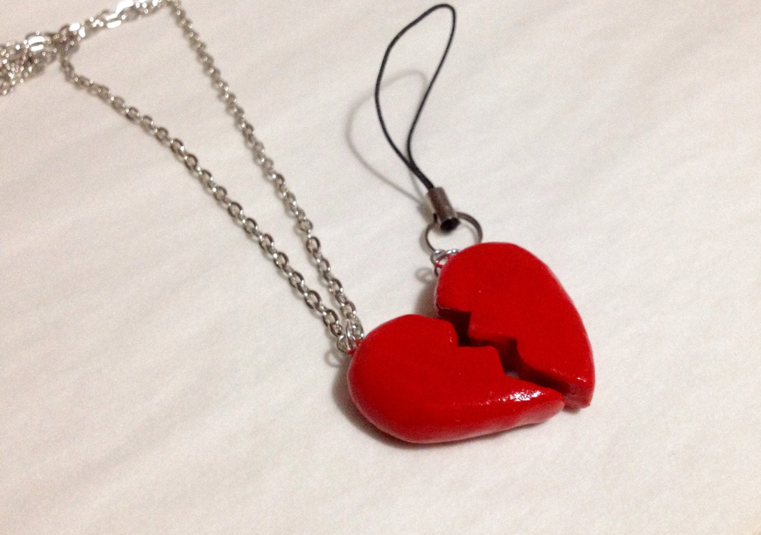 half hearts polymer clay charm personalized bff by