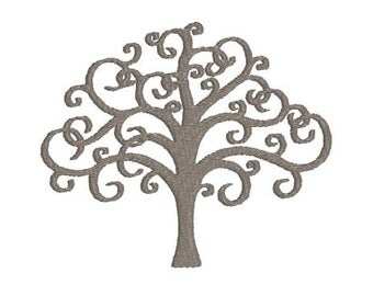 Embroidery Design Pattern File - Tree of Life with Curly Branches for Tote Bag, Pillow, Room Decor