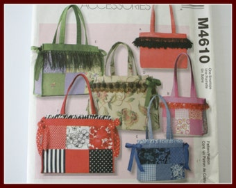 Sale! TOTES and Purse / Handbag Sewing Patterns, UNCUT McCalls Pattern M4610, two sizes included.