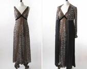 vintage 1970s Vanity Fair nightgown and matching coat set <> leopard print peignoir set