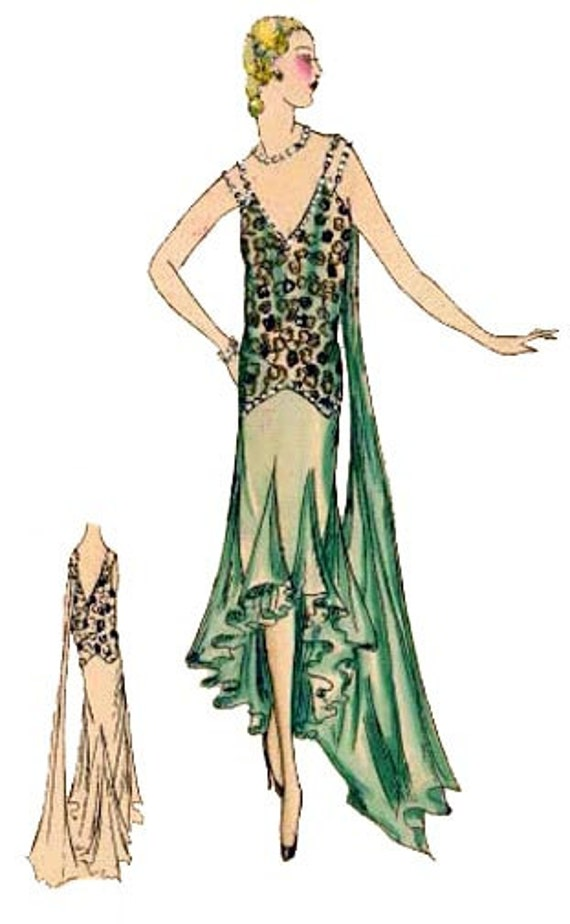 1930s Fashion Colors & Fabric 1930 Dinner Gown Pattern by EvaDress1930 Dinner Gown Pattern by EvaDress $20.00 AT vintagedancer.com