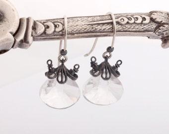 Rock cristal earrings,rock cristal dangle earrings,natural cristal briolettes drops,in 925 sterling silver,Free shipping!