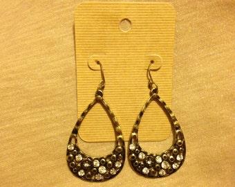 Bronze dangle teardrop earrings