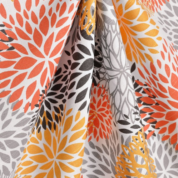 Fabric Shower Curtain Blooms Chili Pepper Orange By