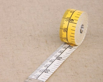 A Measuring Tape Made in Germany, Hoechstmass Measuring Tape, Width 15mm (inch/cm), Length 1.5 meter 60'',  Two Sided, Yellow and White