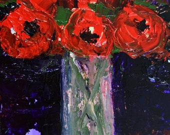 Red Acrylic Flower Painting. Still Life Floral Canvas Painting. Candy Apple Red Flowers. Fine Art.  Romantic Gift For Her Home. No 35