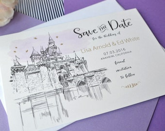 Disneyland Sleeping Beauty Castle Save the Dates, Save the Date Fairytale Wedding,  Castle California Save the Date Cards (set of 25 cards)