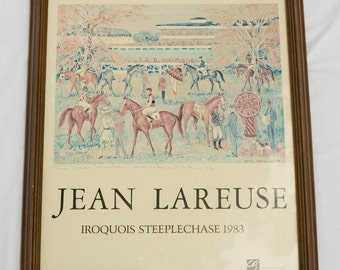 Jean Lareuse Framed Poster - Iroquois Steeplechase 1983 - Appears to Have Written Notation From '83 - Ready to Hang Display / Decor Art