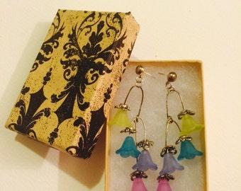 Cool Colors Flower Bead Dangle Earrings