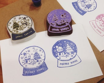 christmas snowglobe hand carved rubber stamp.snowglobe rubber stamp.snowglobe stamp.winter stamp.