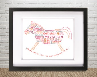 "Personalized Baby Girl Rocking Horse Word Art, Swarovski Bling Framed 13"" x 16"" Custom Worded Unique Nursery Gift – New Baby Girl, Newborn"