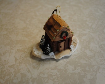 Christmas cabin ornament