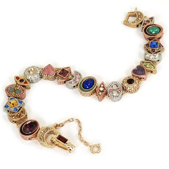 Slide Charms For Bracelets: Gold Victorian Slide Bracelet Vintage By ShelleyCooperJewelry