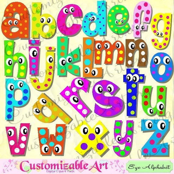 Digital fun alphabets clipart cute digital letters of the - Lettres alphabet originales ...