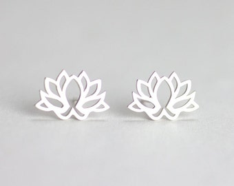 Lotus Stud Earrings, Lotus earrings, Yoga Jewelry, Flower studs, petite and dainty, everyday jewelry