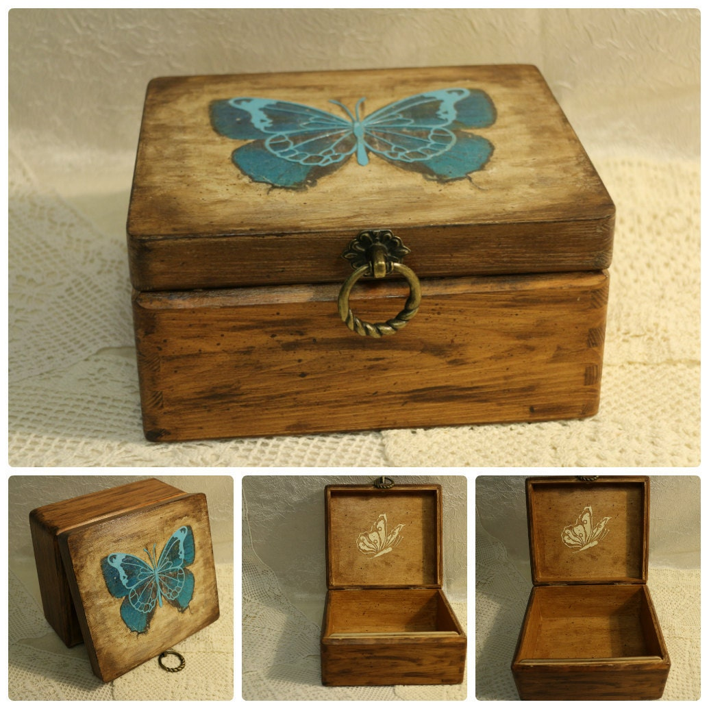 butterfly box jewelry wood box decoupage box butterfly by. Black Bedroom Furniture Sets. Home Design Ideas