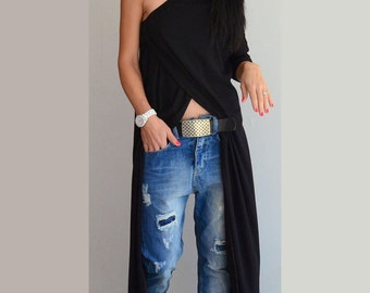 Woman Black tunic dress /Black Long top / Woman Black Tunic / One shoulder black tunic / Long maxi Top