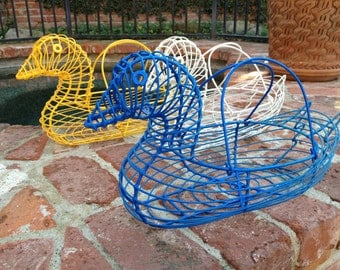 Yellow Wire Duck Egg Basket With Handles