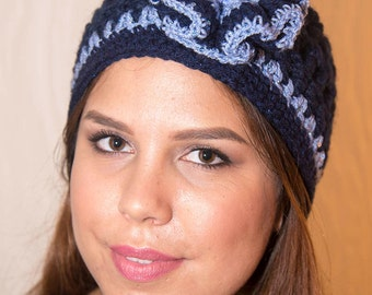 Navy Blue and Periwinkle Beanie with Wavy Flower and Butterfly Button