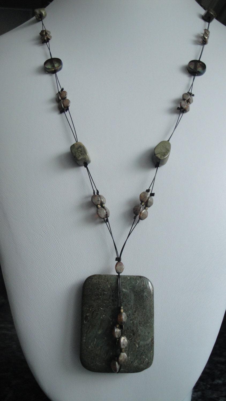 Green Jasper Wavy Gemstone Pendant Focal Bead Necklace Design  |Green Jasper Jewelry