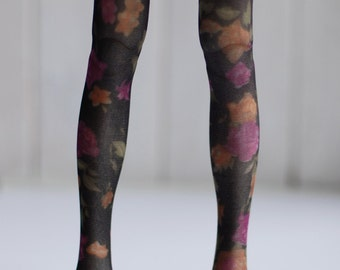 MSD Black Stockings with Flowers- BJD Accessory