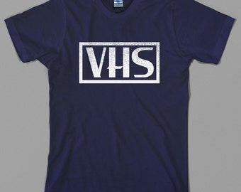 Retro VHS T Shirt  - logo, vcr, video cassette, tape, vintage, recorder, 80s - Graphic tee, All Sizes & Colors
