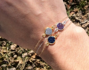 Purple Druzy Bracelet, Sterling Silver Bracelet, Dainty Silver Bracelet, Agate Druzy, Gifts For Her, Valentine's Day Gifts For Her