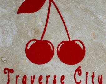 "Set of 4 ""Traverse City Cherries"" Coasters. Free Shipping.  Ordering ""1"" is one set of 4 coasters"