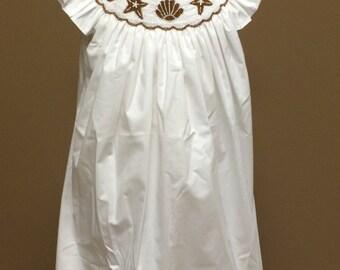 starfish sand dollar sea shell white smocked dress