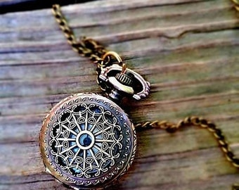Vintage Antique Bronze Pocket Watch Necklace