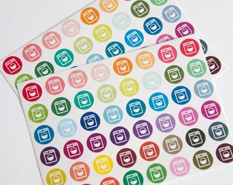 48 washing machine stickers, laundry stickers, planner stickers, clean clothes, laundry day reminder eclp filofax happy planner kikkik