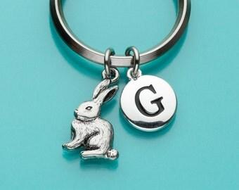 Bunny Keychain, Bunny Rabbit Key Ring, Initial Keychain, Personalized Keychain, Custom Keychain, Charm Keychain, 54