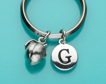 Peach Keychain, Peach Key Ring, Initial Keychain, Personalized Keychain, Custom Keychain, Charm Keychain, Fruit, 274