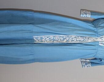 Rare Déshabillé 1900s percale & blue lace net handmade
