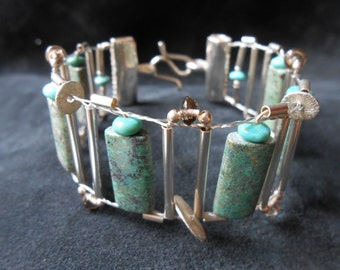 Silver, Turquoise, Smoky Quartz - Hand woven bracelet with sterling silver and gemstones - Loom woven cuff - handmade artisan jewelry