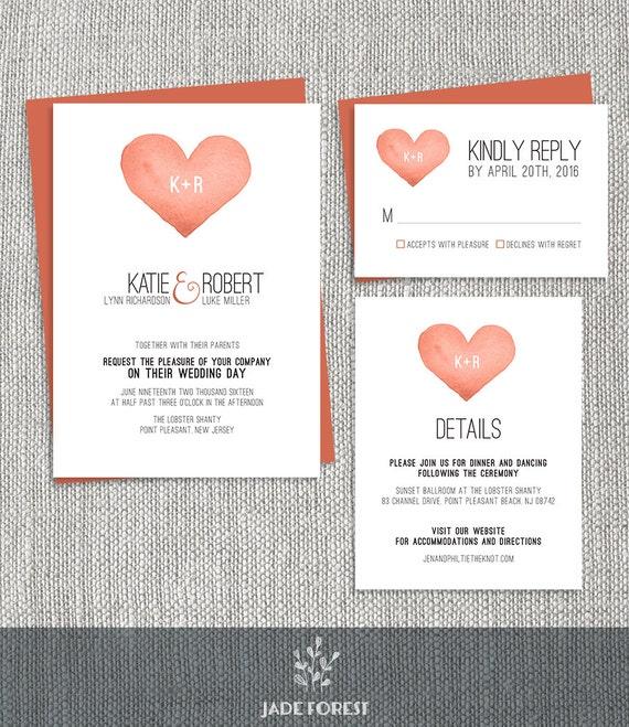 Watercolor Wedding Invitation Set DIY Whimsical Orange