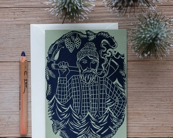 The Woodcutter – Handprinted fathers day card, birthday card, greeting card.