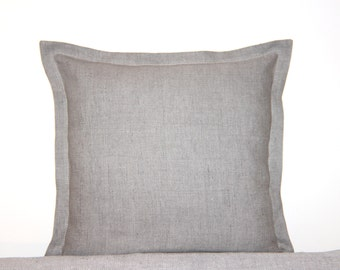 Natural linen pillow cover with flange. Modern Home decor by Linen Mile