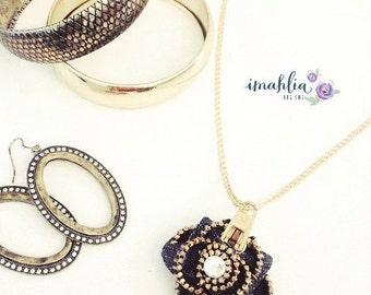Lotus Zipper Necklace - Ladies Necklace - Zipper Pendant - Flower Necklace