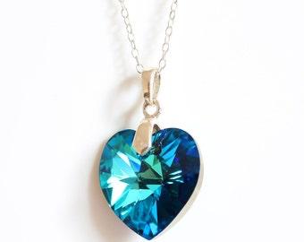 Bermuda blue crystal heart pendant